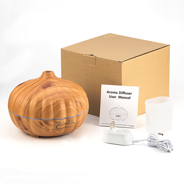 500ml pumpkin wood grain aroma diffuser ultrasonic air humididifier home scent mist maker with rainbow led light