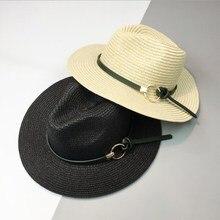 6f8e3dc4c54 Seioum Summer Hats For Women Sun Hat Leather Gold Chain Belt Floppy Beach  Wide Brim Straw