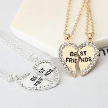 Best Friends Two Halves Heart Necklaces Gold/Silver Pendant Fashion Symbol of Friendship Gifts for Friend Party Decoration