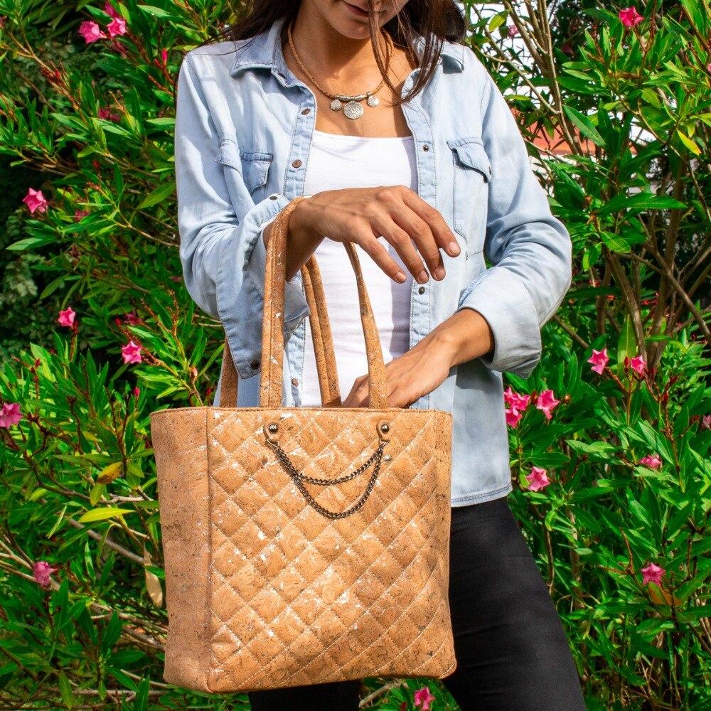 Доставка из Португалии пробковая с серебряной стеганой сумкой Сумочка веганский подарок экологичный BAGC 001