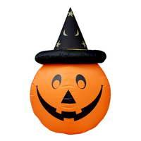 Inflatable Pumpkin Novelty Blow up Classic Pumpkin Decor Party Prop with Hat for Shoping Mall Store Halloween Party Home