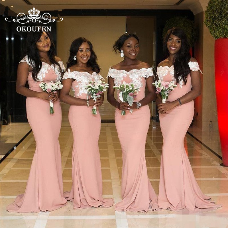 Cheap Light Pink Satin   Bridesmaid     Dresses   White Appliques 2019 Off Shoulder Long Mermaid Maid Of Honor   Dress   Party For Women