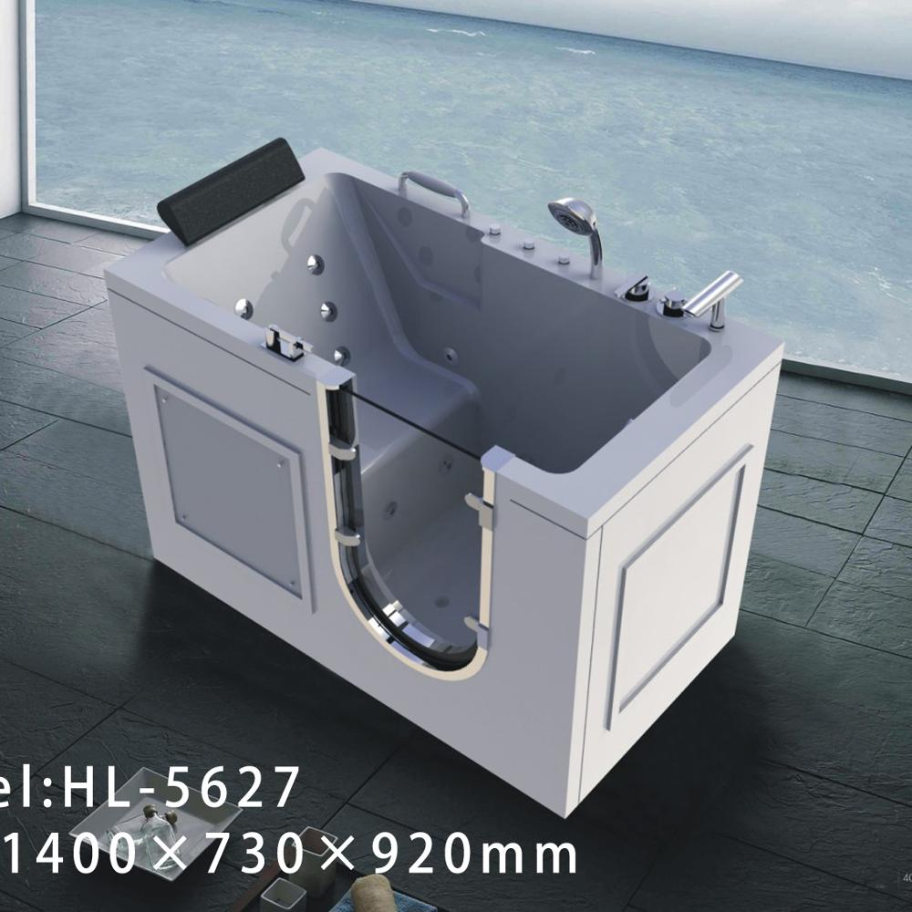 Bathroom acrylic walk in bathtub with seat with air massage