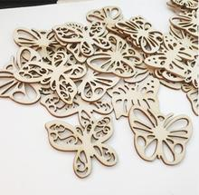 50pcs 5cm Laser Engraving Butterfly Wood Brick, Mix Styles, for Cloth art\ Scrapbooking DIY\ Toy\ DIY Craft Supplies B84