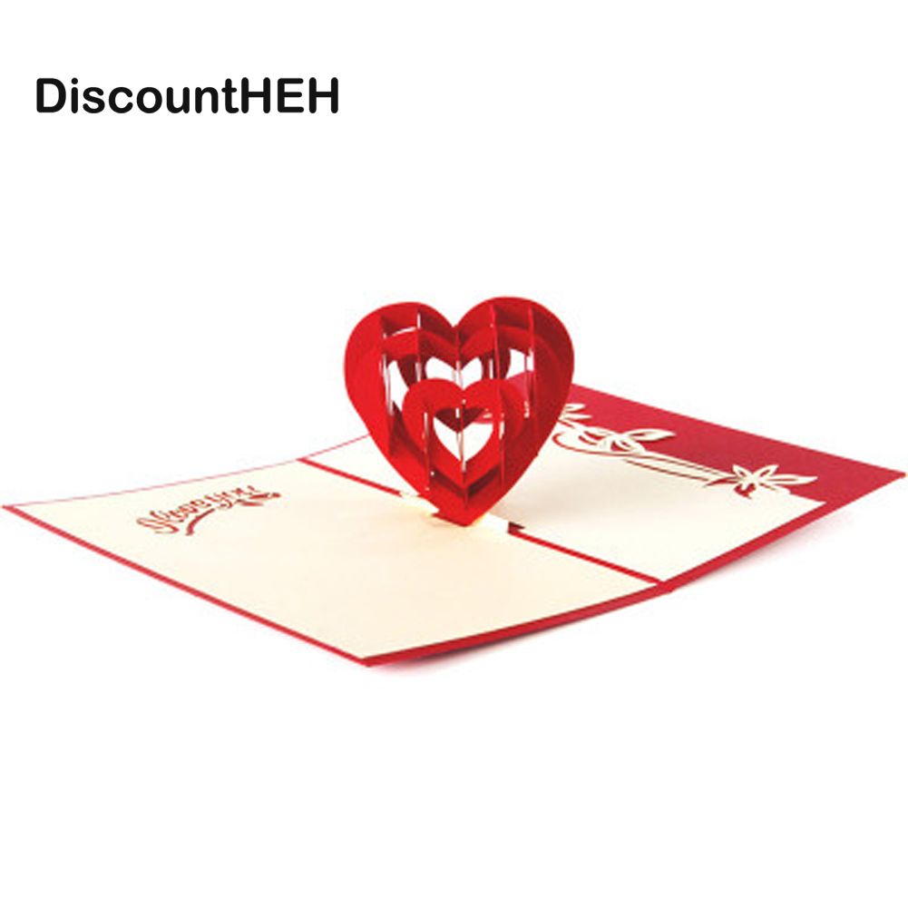 3D Pop Up Birthday Greeting Postcards Gift Cards Custom Laser Cut Heart Blank Vintage Invitation Marriage Love Letters Messages