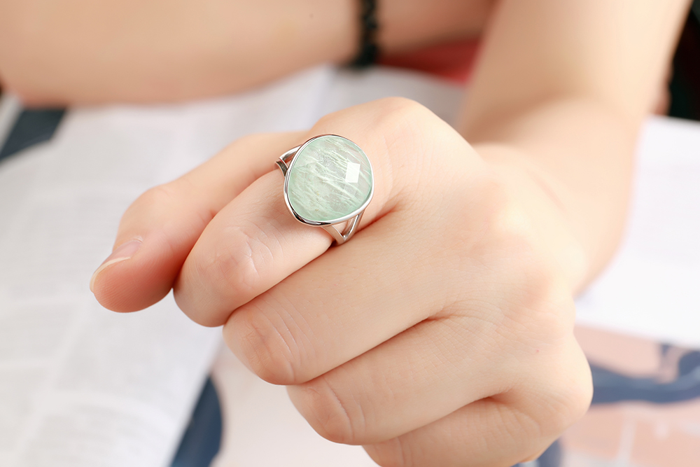Image 5 - DORMITH real 925 sterling silver gemstone rings natural amazonite rings for women Jewelry rings size can be rejustablering forrings for womenring ring -