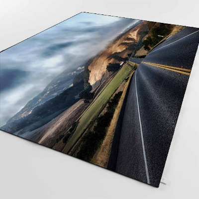 Else Mountain Road Way Dark Blue Sky Clouds 3d Print Non Slip Microfiber Living Room Decorative Modern Washable Area Rug Mat