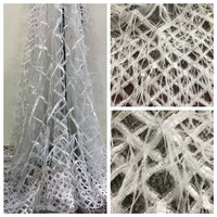 3d Flowers High Quality African Lace Fabric Feather Pattern Embroidered French Applique Lace Fabric Cloth For Wedding HJ828 1
