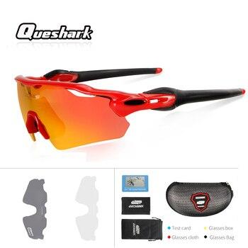 0e1ccfe9d2 Queshark profesional UV400 polarizado gafas Ciclismo al aire libre bicicleta  de montaña MTB bicicletas gafas de sol gafas de Ciclismo
