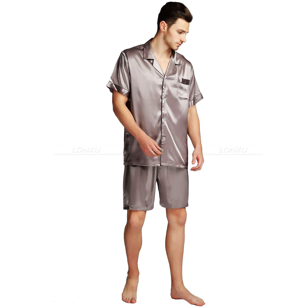 Mens Silk Satin Pajamas Pyjamas PJS  Short  Set  Sleepwear Loungewear  S,M,L,XL,2XL,3XL,4XL Plus