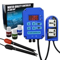 Digital pH ORP Redox 2 in 1 Controller Monitor w/ Output Power Relay Control, Electrode Probe BNC, Water Quality Meter Kit
