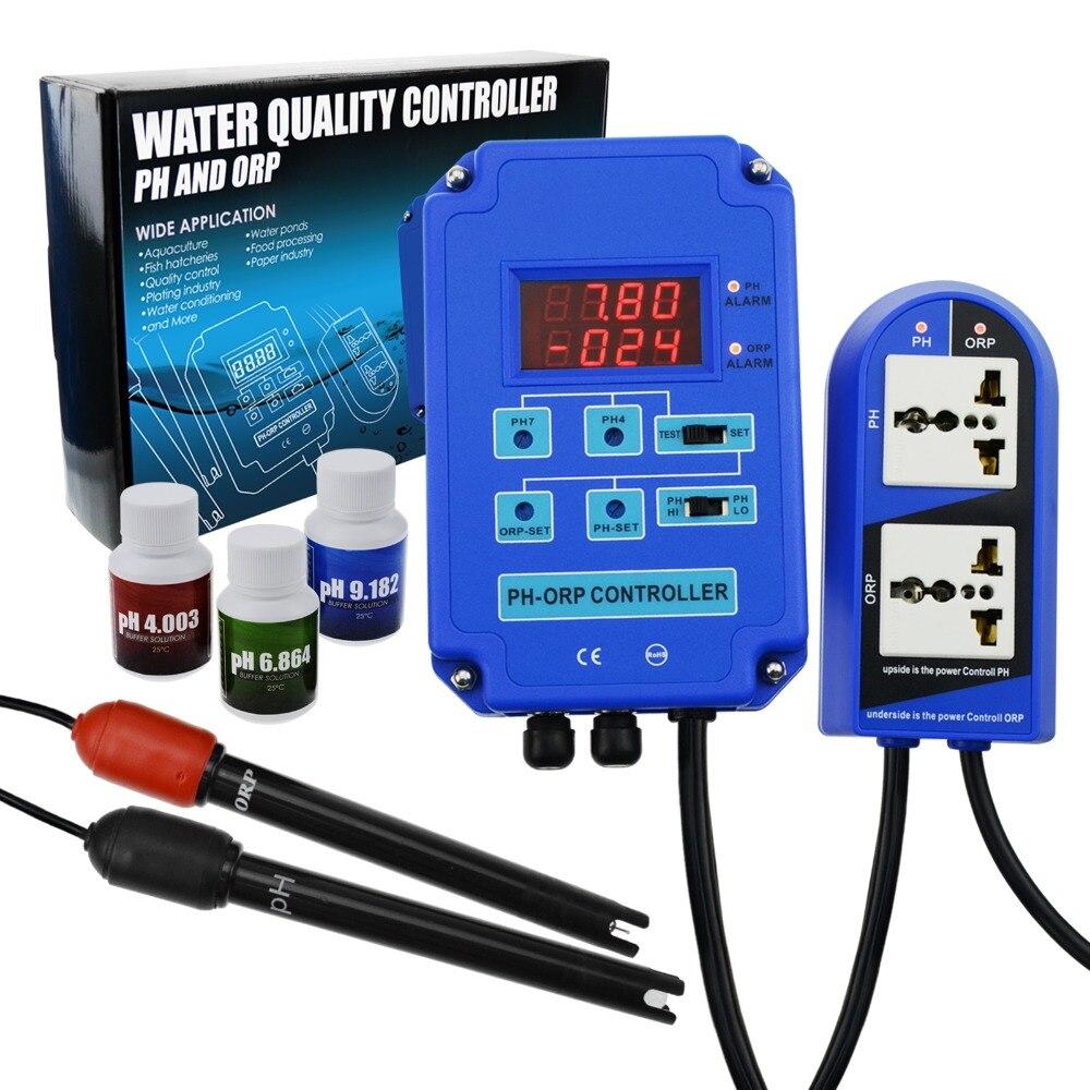 Digital pH Controlador ORP Redox 2 em 1 Monitor w/Potência De Saída de Controle do Relé, BNC Sonda Eletrodo, kit Medidor de Qualidade da água