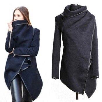 Women Woolen Windbreaker Coat Plus Size