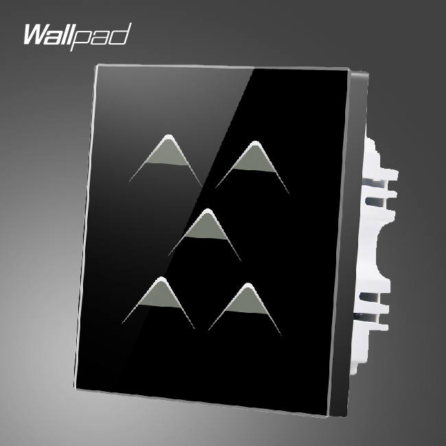 Hotel Touch Wallpad UK 110V-250V 5 Gang 1 Way 5 Buttons Black Crystal Glass Electrical Touch Led Light Switches,Free Shipping wall light touch timer switch 1 gang 1 way crystal glass cover time delay electrical switches blue led indicator uk type