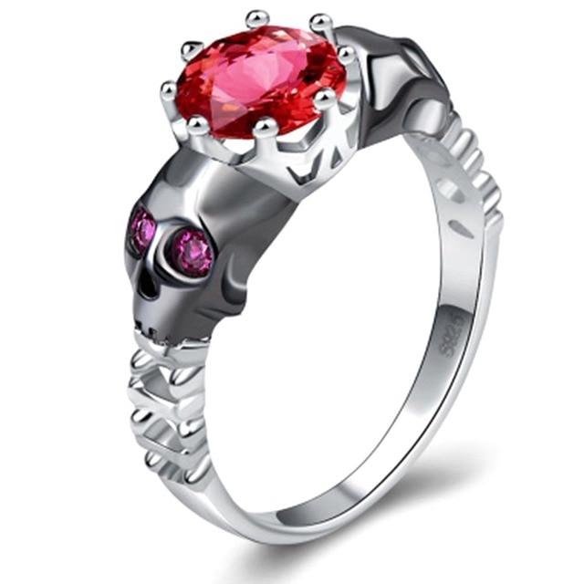 Skull Ring Sets Rhodium Plated big clear crystal Womens Wedding