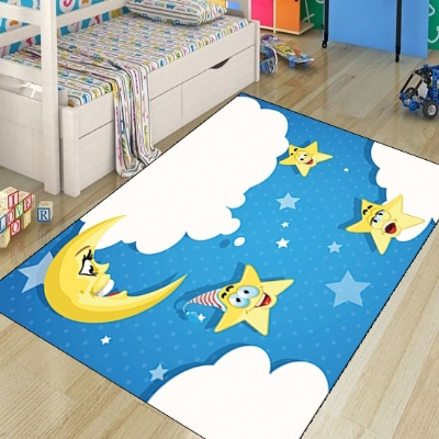 Else Blue Sky White Clouds Funny Star Moon 3d Print Non Slip Microfiber Children Kids Room Decorative Area Rug Kids  Mat