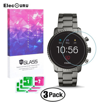 3Pcs Tempered Glass For Fossil Q Explorist HR Gen 4 Smart Watch Screen Protector 9H 0.3mm 2.5D Clear Thin Guard Protective Film