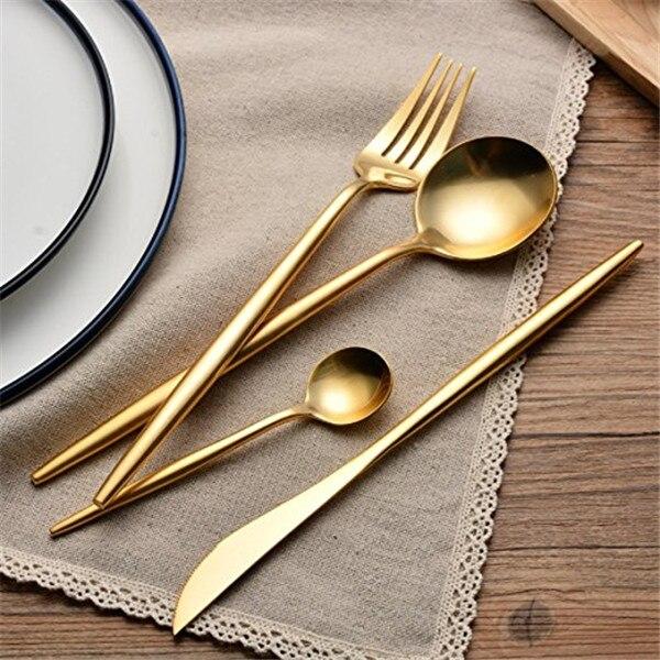 4cs/Set Stainless Steel Dinner Fork Knife Dssert Tablware Food Scoop Dinnerware Golden Hot Sale Dinner Set