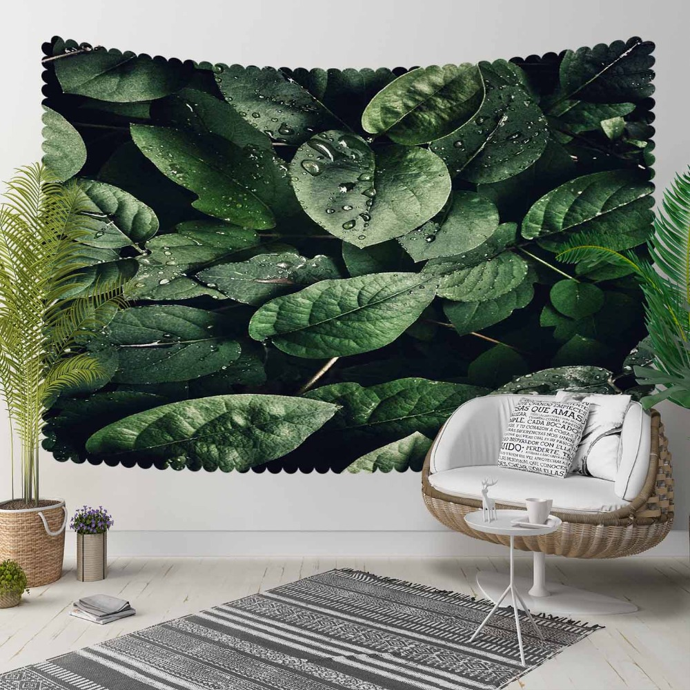 Else Green Tropical Jungle Floral Leaves Rain Drops 3D Print Decorative Hippi Bohemian Wall Hanging Landscape Tapestry Wall Art