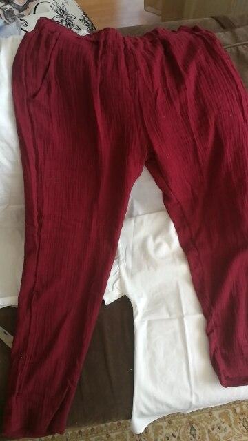 Autumn Summer Women Cotton Linen Loose Straight Full Pants Plus Size M 6Xl 7Xl Solid Trousers Female Vintage Elastic Pants photo review