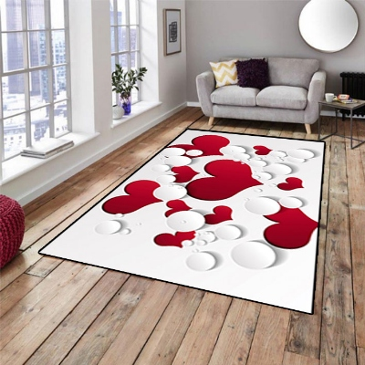 Else Love White Red Hearts Romantics 3d Pattern Print Non Slip Microfiber Living Room Decorative Modern Washable Area Rug Mat