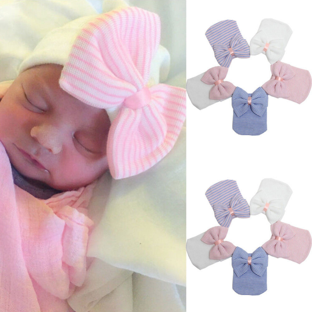 цена Newborn Bow Striped Cap Hat Toddler Baby Girls Newborn Girl Soft Beanie Turban Hat with Bow Lovely Cotton Warm Winter Cap 0-3M