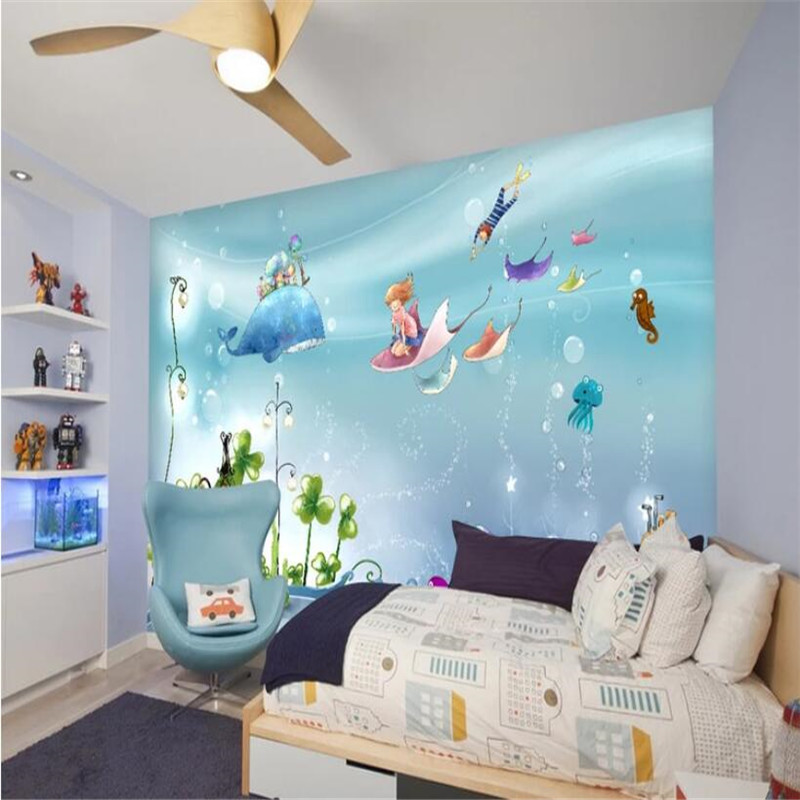 Cartoon hand painted underwater world professional production mural wallpaper poster wall customizable photo wall in Fabric Textile Wallcoverings from Home Improvement