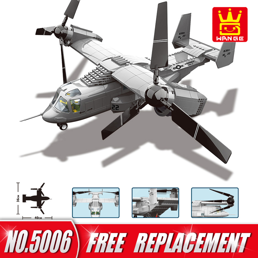 WANGE Blocks Military Series V-22 Osprey Fighter Building Blocks Educational Creative DIY Bricks Kids Toys Children Gifts tumama 829pcs military blocks toy 8 in 1 warship fighter tank army soldiers bricks building blocks educational toys for children