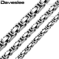 CUSTOMIZE SIZE 5 6 7mm Byzantine Stainless Steel Chain Necklace Black Mens Chain Wholesale Fashion Jewelry