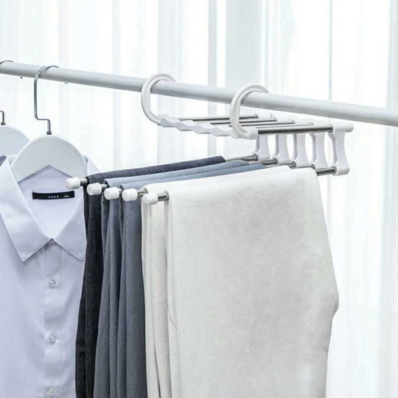רב-פונקציה מכנסיים קולב 5 Tier נייד נירוסטה ארונות מכנסיים מכנסיים בגדי קולב אחסון ארגון בית
