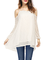 Women Long Sleeves Open Shoulder Lace Tunic Top White L Us 14