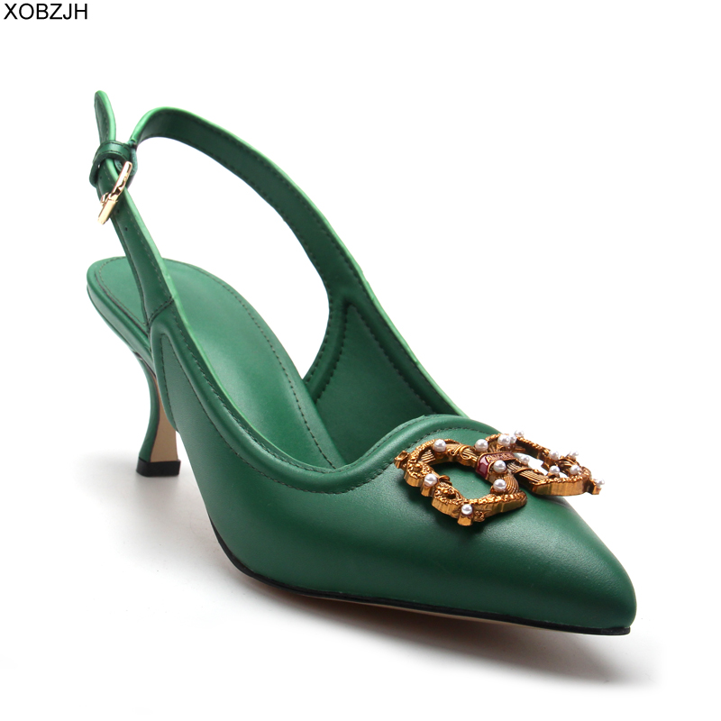 Italian Office Women Shoes Heels Pumps 2019 luxury Brand Designer pumps Green Ladies Genuine Leather Sandals Shoes Woman Lace up in Women 39 s Pumps from Shoes