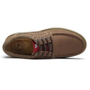 Image 2 - CAMELใหม่ของแท้หนังรองเท้ารองเท้าผู้ชายแฟชั่นกลางแจ้งรองเท้าCowhide Rhubarbรองเท้าManเย็บคุณภาพรองเท้า