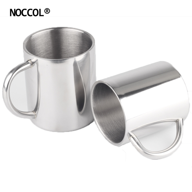 NOCCOL 220ML 280ML Stainless Steel Water Mugs Cup Eco Friendly Double Wall Health Drink Milk Coffee Beer Mug Outdoors Home