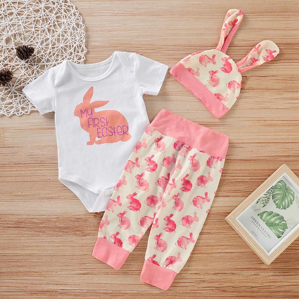 24c50eff1 ... ISHOWTIENDA 2019 New Arrival Newborn Baby Girl Boy Cartoon First Easter  3D Bunny Outfits Romper Hat