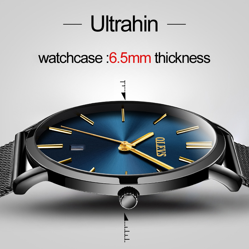 OLEVS Men stainless steel Watches Luxury Brand Ultrathin Wristwatches Analog Display Date Mens Quartz Watch Casual Wrist watches