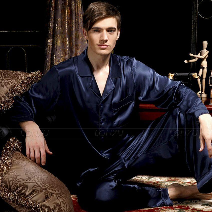 Image 4 - Mens Silk  Satin  Pajamas Set   Pyjamas  Set   Sleepwear  Loungewear  S~4XL-in Men's Pajama Sets from Underwear & Sleepwears