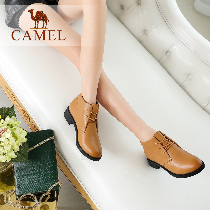 CAMEL 2018 Boots Women Shoes Winter New Leather Flat Heel Short Boots Fashion Casual Martin Shoe Plus Velvet For Ladies camel camel boots cowhide thick heel rivet velvet fashion pointed toe boots vintage casual thermal boots