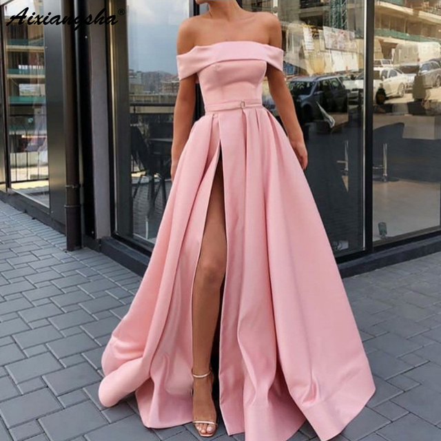 7431d5b790 Strapless Pink Off the Shoulder Sexy gala dress High Slit A Line Satin  Girls Elegant Prom Dresses Yellow Long Party Evening Gown