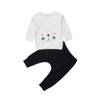 Baby Boy's White Bear Sweatshirt and Pants Set 2