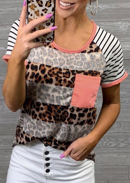 Fashion Leopard Printed   T  -  Shirt   2019 Summer Casual Pocket Striped Tops Tee For Women Stylish   T     Shirt   Female Tops camisetas