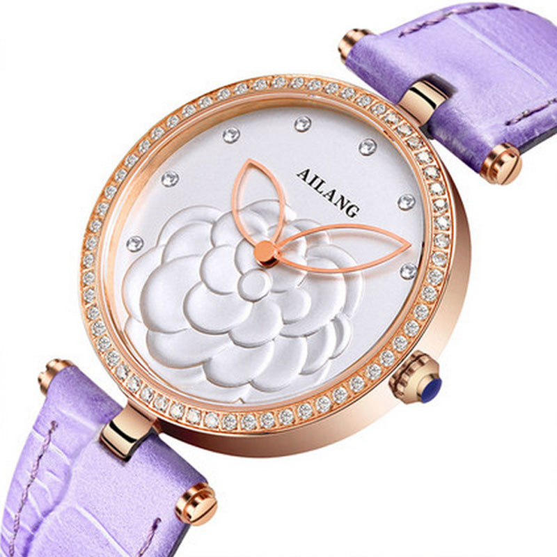 2017 new designer AILANGS fashion simple ladies watch top luxury brand purple leather ultra-thin quartz watch new guote fashion designer geneva ladies sports brand white