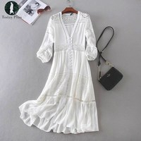 2017 Summer Dress Women Boho Beach Bohemia Party Casual White Lace Patchwork Loose Deep V Neck