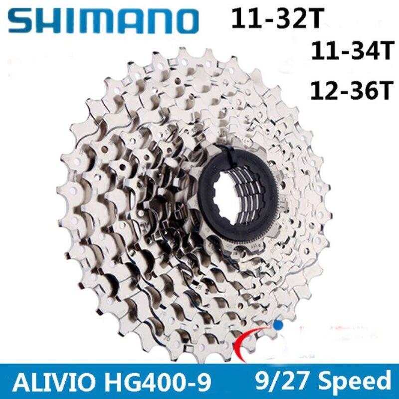 SHIMANO ALIVIO CS HG400 K7 MTB Mountain Bike Bicycle parts 9S Cassette Freewheel 9/27 Speeds Sprocket Tape 11 32/34/36T-in Bicycle Freewheel from Sports & Entertainment