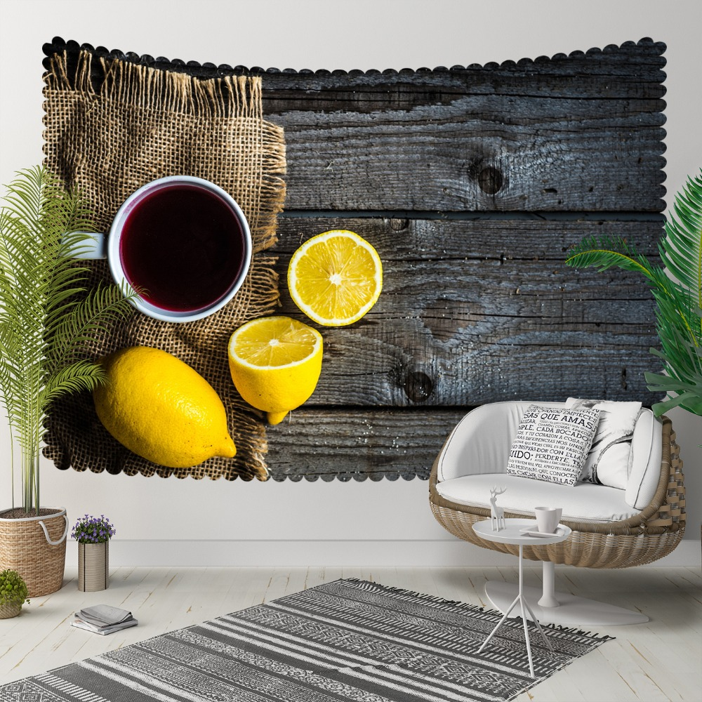 Else Gray Wood Cup Of Tea Yellow Lemons Brown Wicker 3D Print Decorative Hippi Bohemian Wall Hanging Landscape Tapestry Wall Art