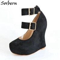 Sorbern/необычные туфли лодочки на танкетке на заказ, женская обувь с ремешком на 3 см, обувь на платформе с каблуком 16 см, женские туфли лодочки