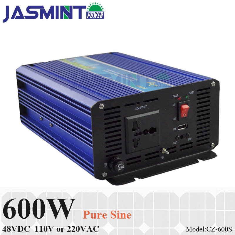 600W 48VDC Off Grid Inverter, Pure Sine Wave Inverter for 110VAC or 220VAC appliances in Solar or Wind System, Surge Power 1200W