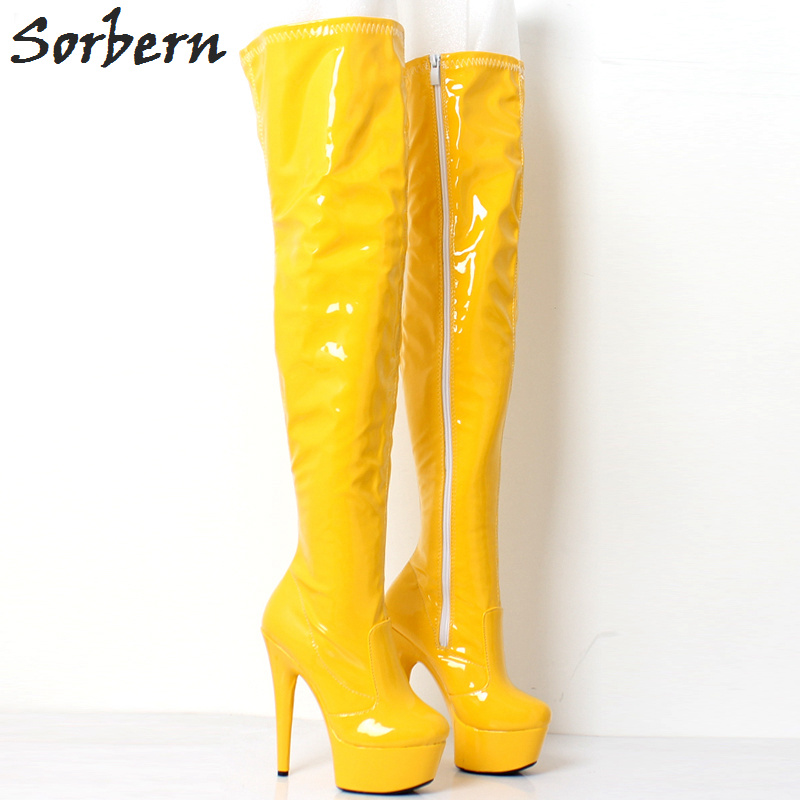 Sorbern Bright Boots Thigh High Heels Black Shoes For Women Fall Boots Women Runway Shoes Custom Wide Fit Leg Calf Fall Shoes trendy colorful printed high waist wide leg pants for women