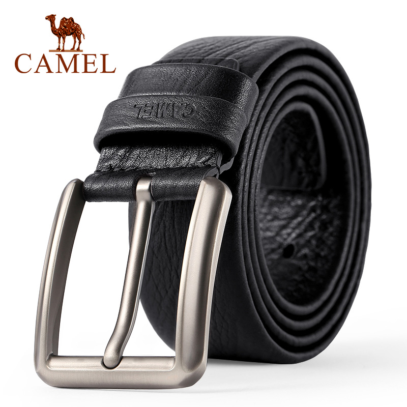 CAMEL Men's Belt Fashion Genuine Leather Business Wild Casual Pin Buckle Belt Cross Buttonhole Design Flexible Top Layer Cowhide