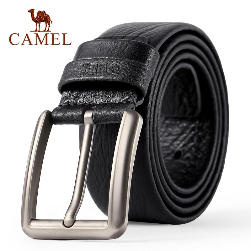 Мужской ремень CAMEL, Модный деловой ремень из натуральной кожи, повседневный ремень с пряжкой и перекрестными пуговицами, гибкий верхний сло...